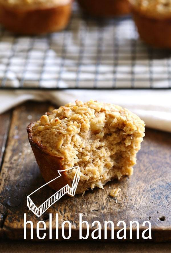 Caramelized Banana Oat Muffin with a bite taken out.