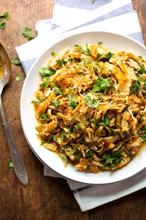 Spicy Chipotle Shredded Chicken on a white plate.