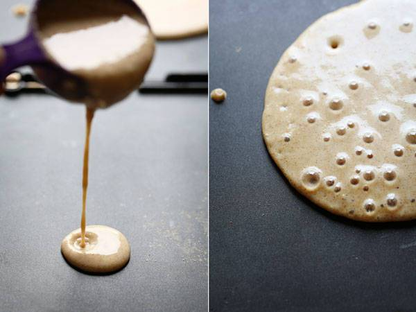 Pancake batter on a skillet.