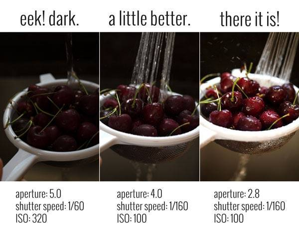 Camera settings in three different images.