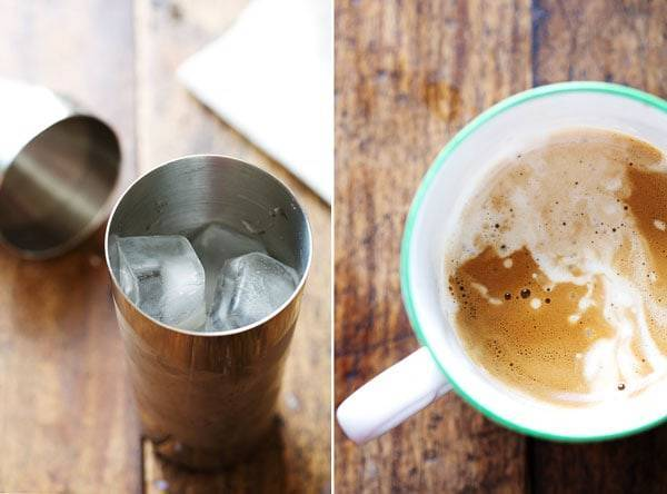 Ice in a steel container and coffee in a mug.