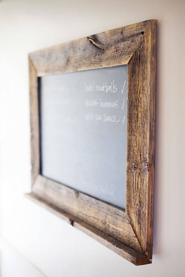 Reclaimed wood chalkboard.
