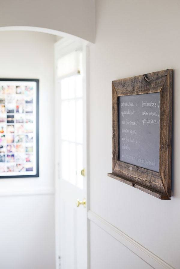 Chalkboard in entry way.
