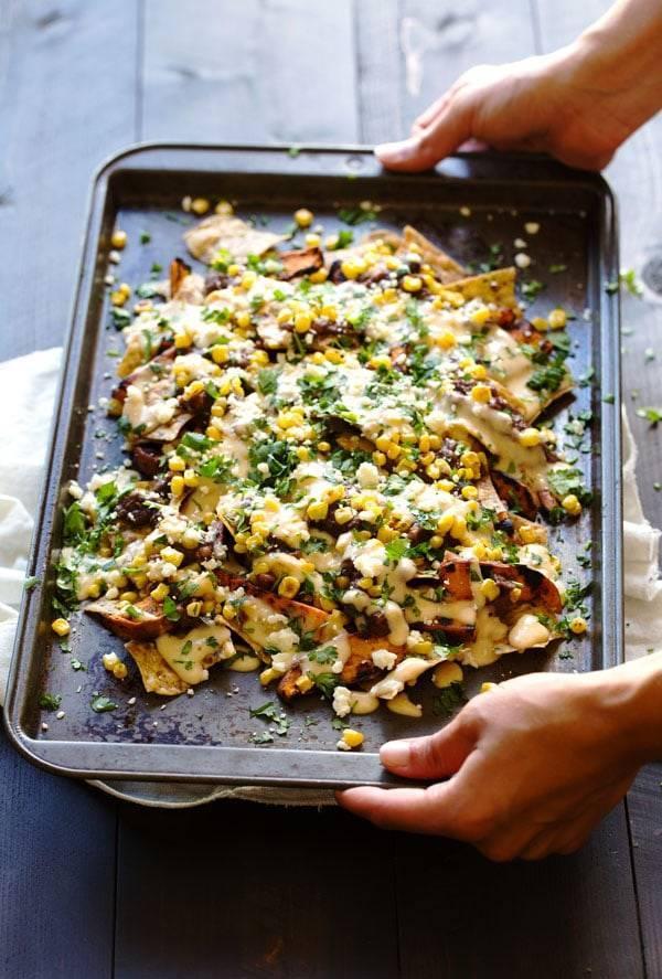 Grilled Sweet Potato Nachos on a pan.
