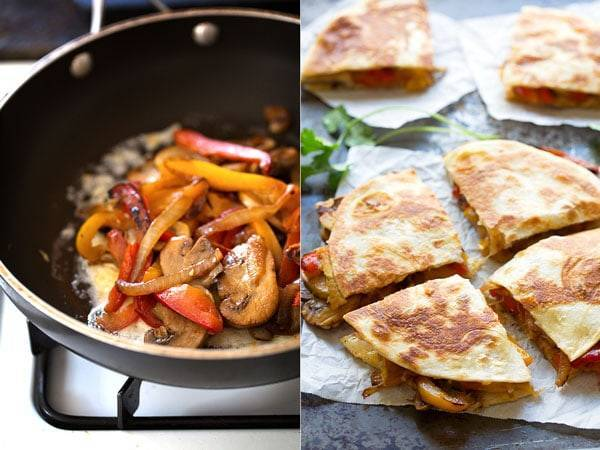 Peppers and mushrooms in a pan and quesadillas sliced into four pieces.