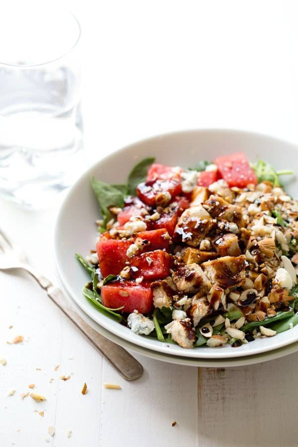 Balsamic Watermelon Chicken Salad - tangy blue cheese, crunhcy almonds, sweet juicy watermelon, grilled chicken, and balsamic reduction. fresh summer deliciousness. 300 calories.| pinchofyum.com
