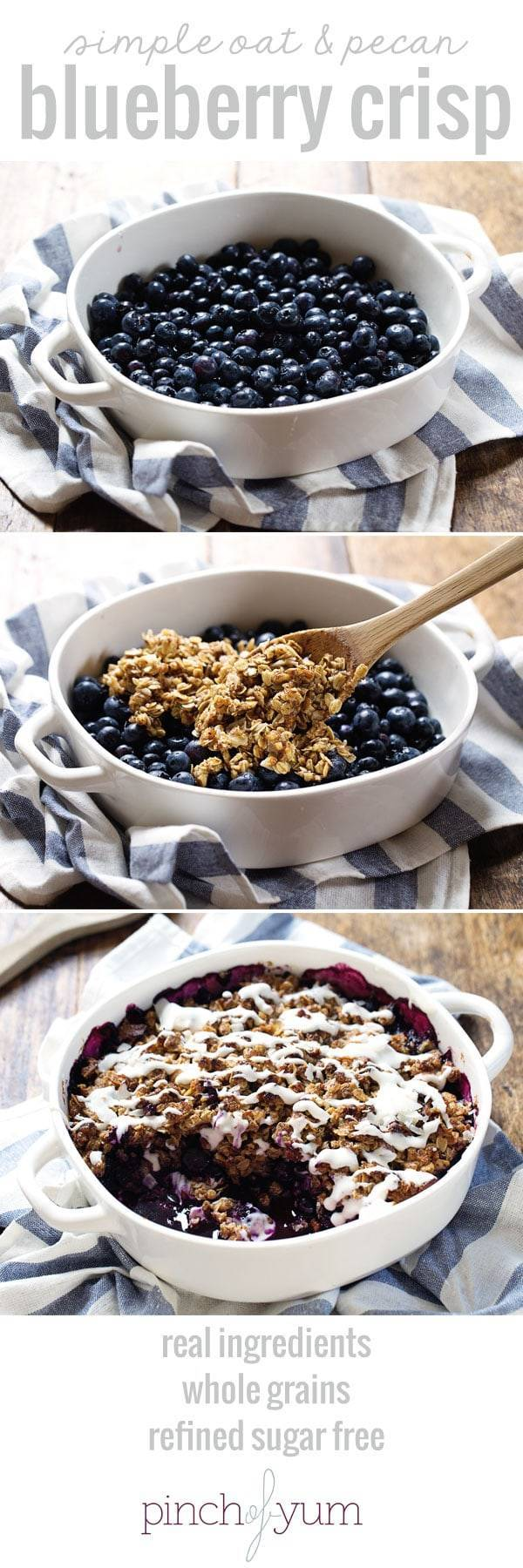 Simple Oat and Blueberry Crisp making process.