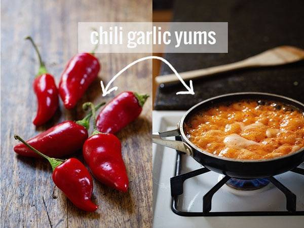 An easy homemade spicy chili garlic sauce! | pinchofyum.com #chili #garlic #sauce