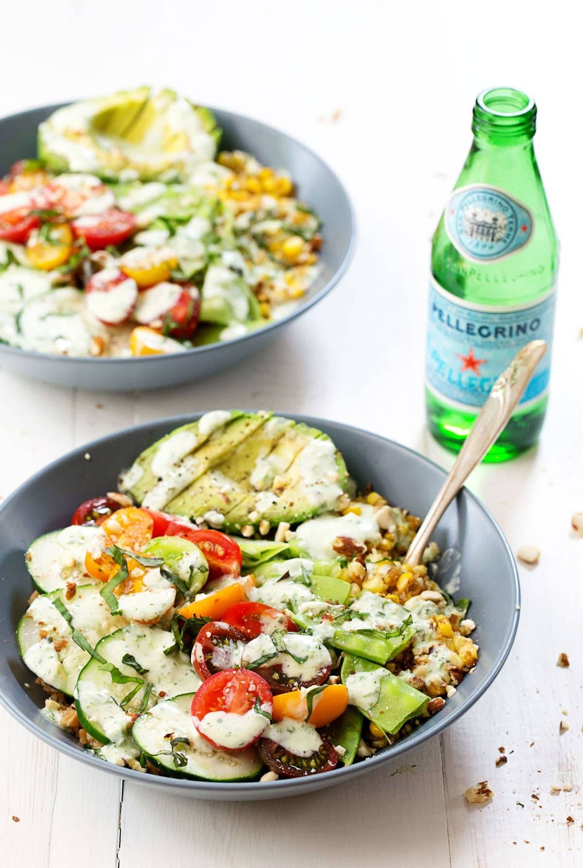 Rainbow Veggie Bowls with Jalapeño Ranch and sparkling water.