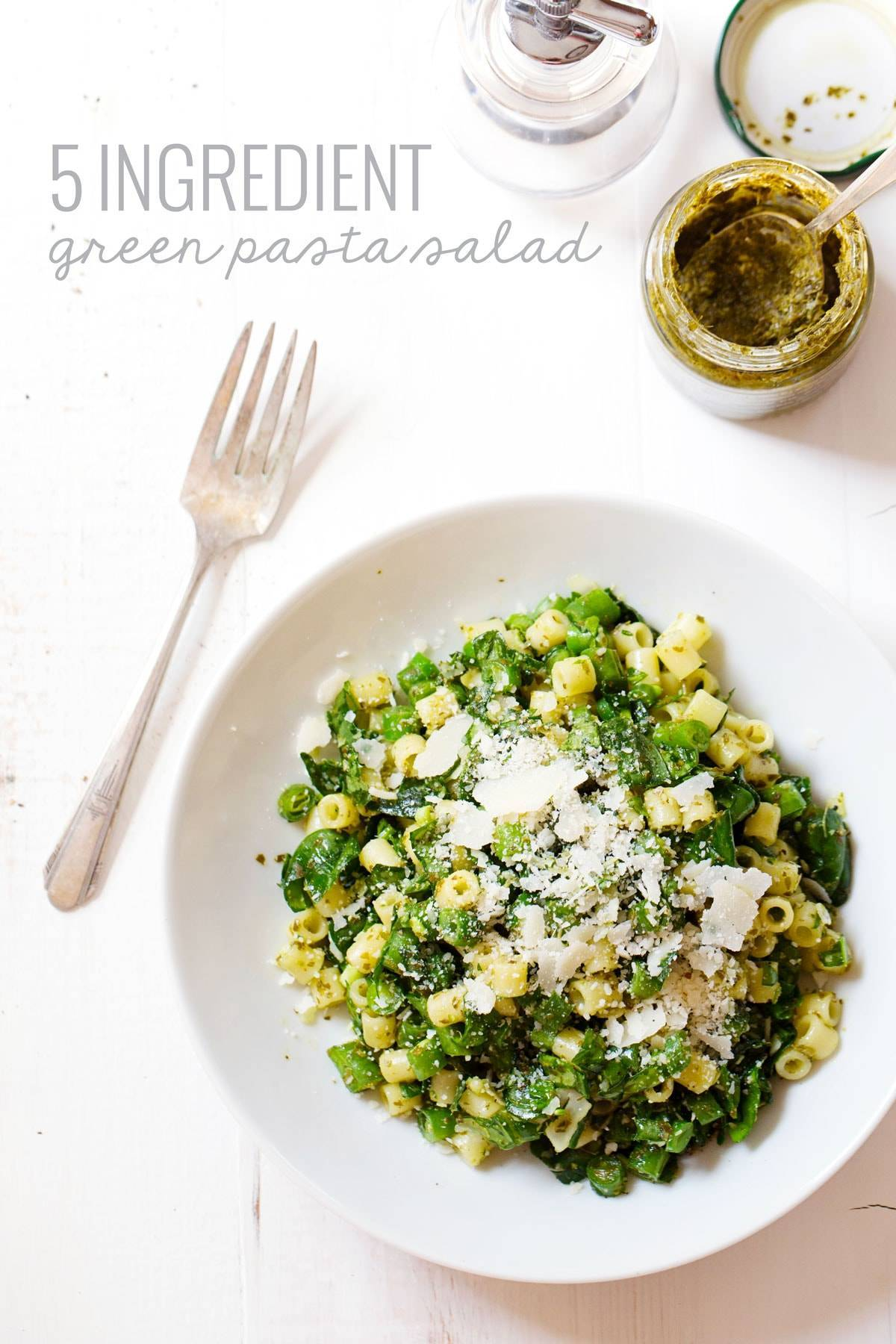 Five Ingredient Simple Green Pasta Salad - basil, olive oil, garlic, and lemon juice flavor this fresh, yummy, simple summer dish! | pinchofyum.com #pasta #salad #healthy #recipe