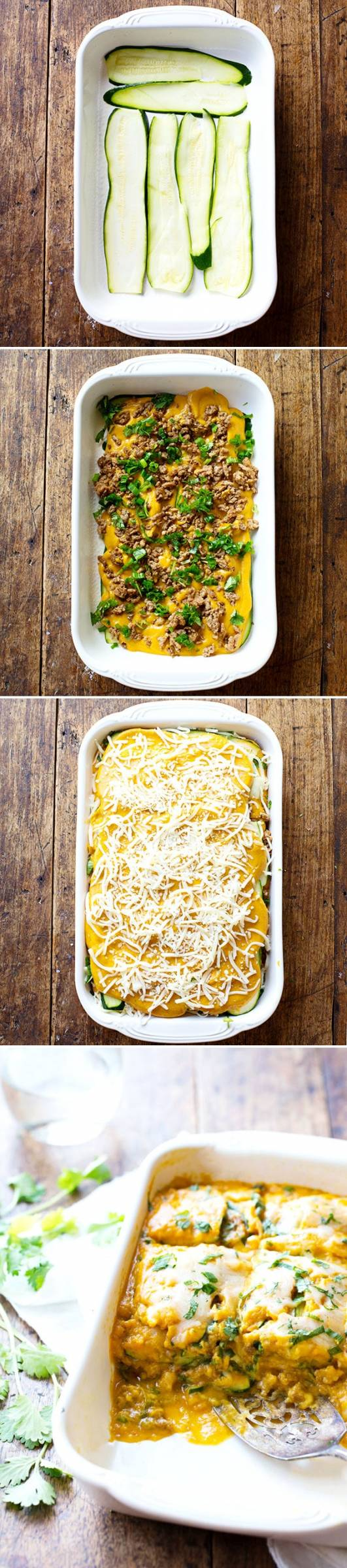 This Sausage and Sweet Potato Zucchini Lasagna features ancho chili spiced sausage and a sweet potato sauce that is uniquely sweet and savory. | pinchofyum.com