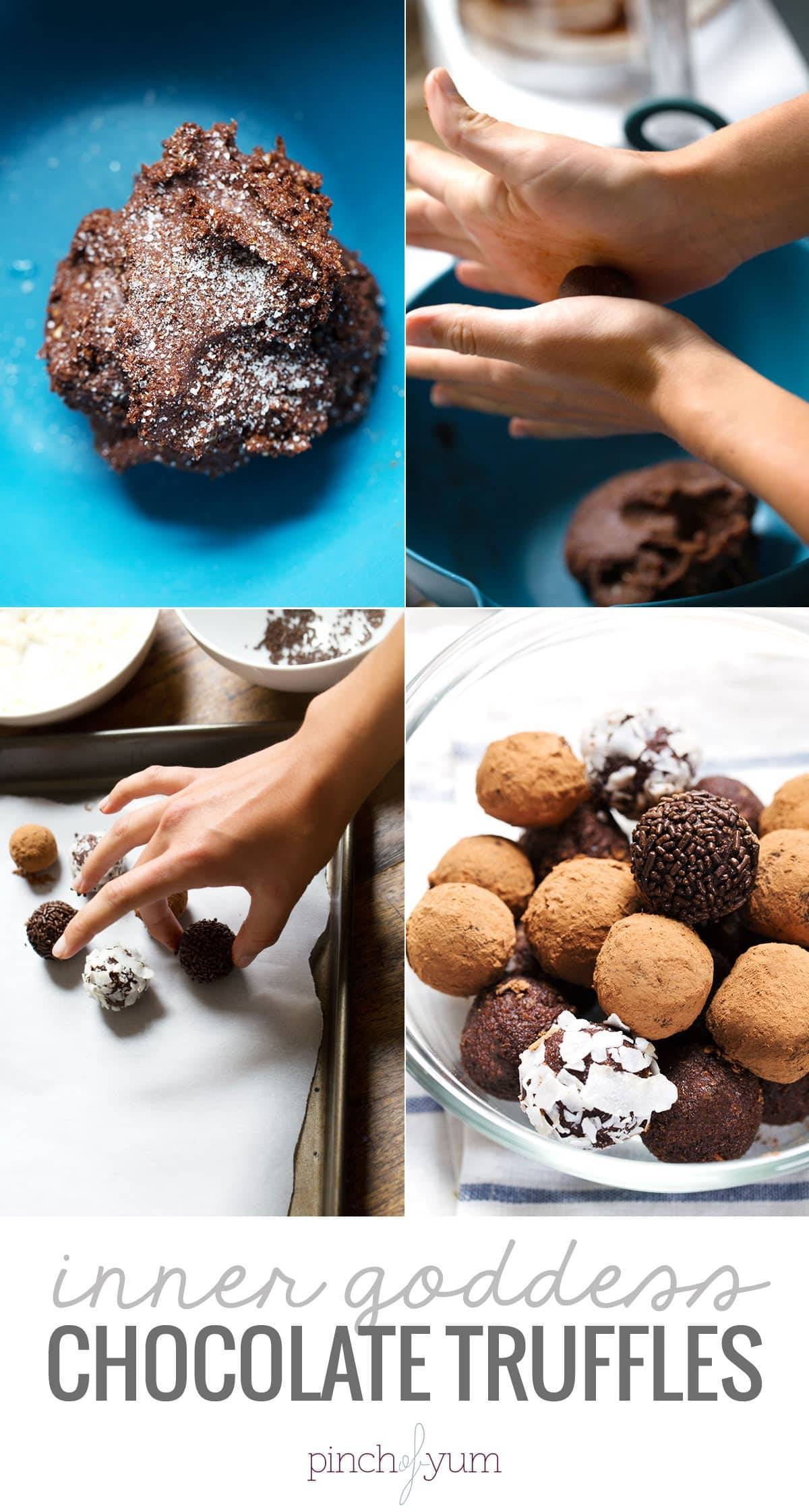 Inner Goddess Chocolate Truffles - these yummy bite-sized sweets are made with healthful, whole ingredients. Ready in 10 minutes, 90 calories each! | pinchofyum.com #healthy #dessert #chocolate #truffle