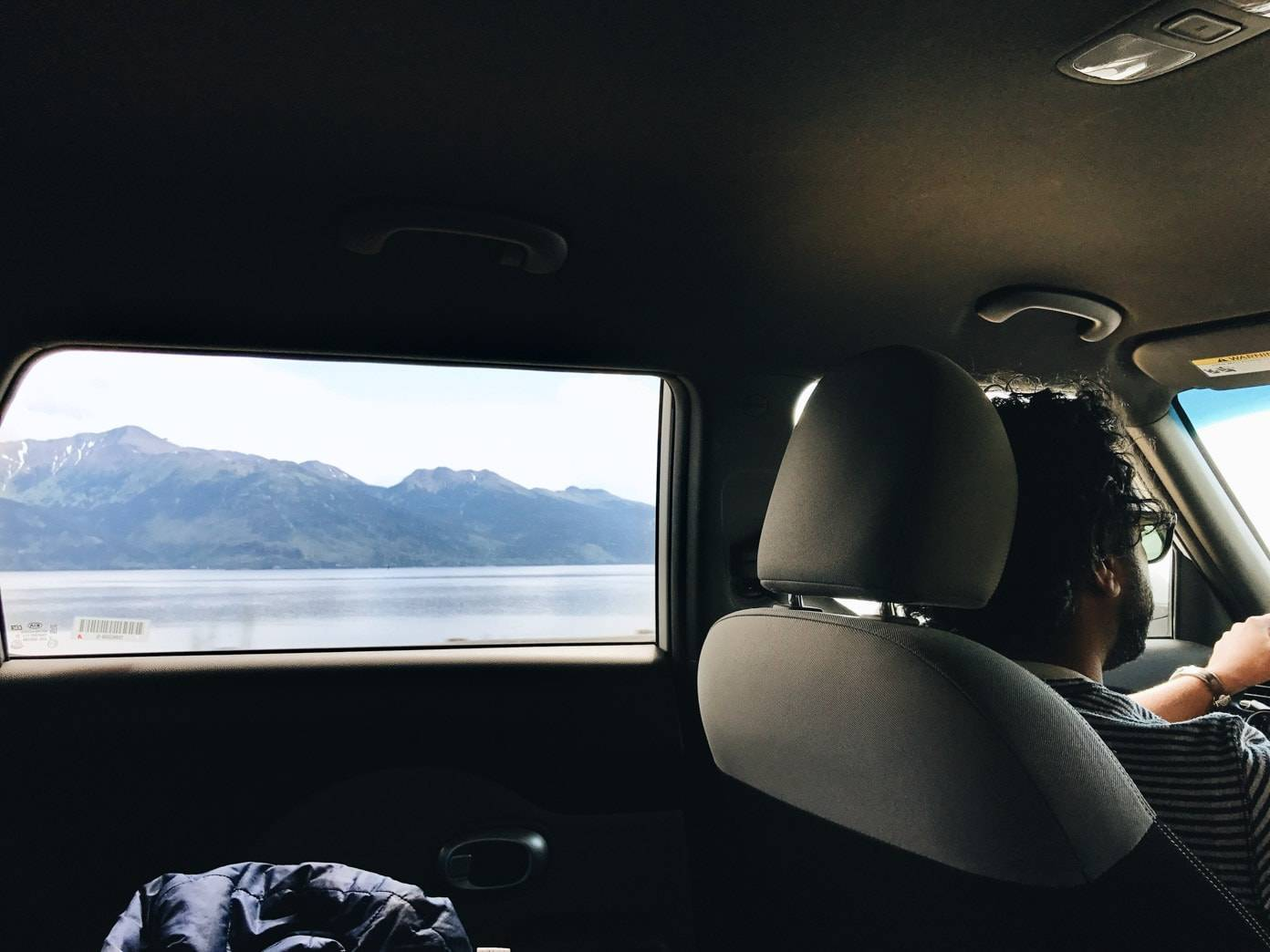 View of mountains out of a car window.