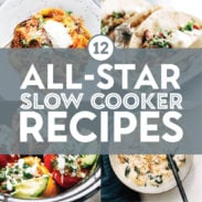 Slow cooker recipes in a collage.