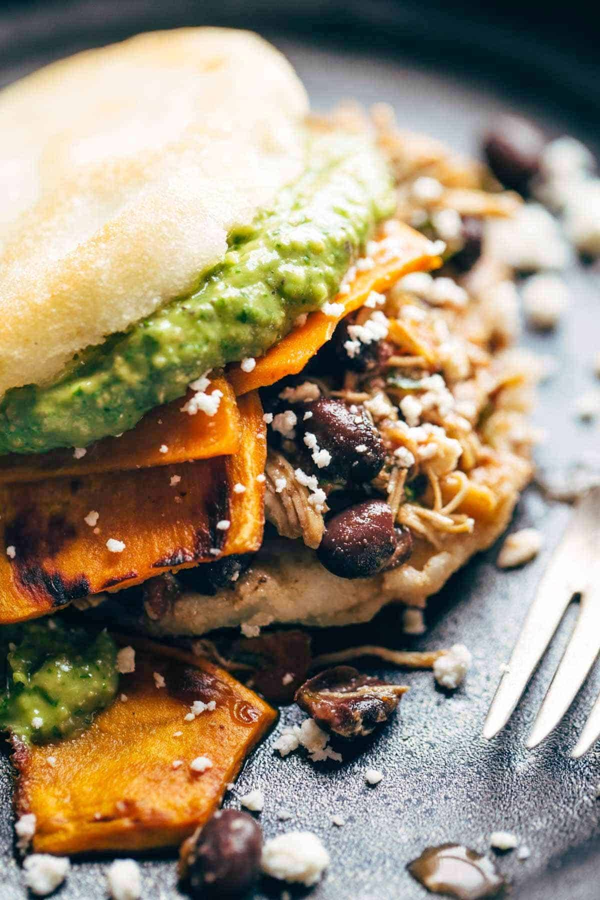 Arepas with Carnitas and Sweet Potato
