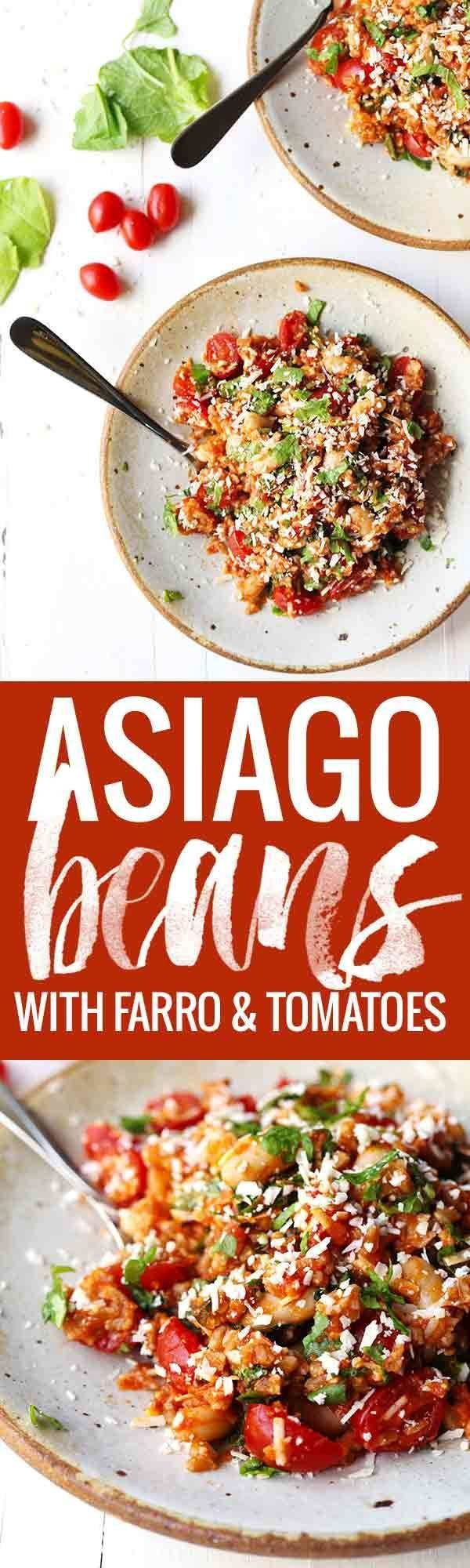 Asiago White Beans with Farro, Kale, and Tomatoes - a colorful, healthy one-pot meal.