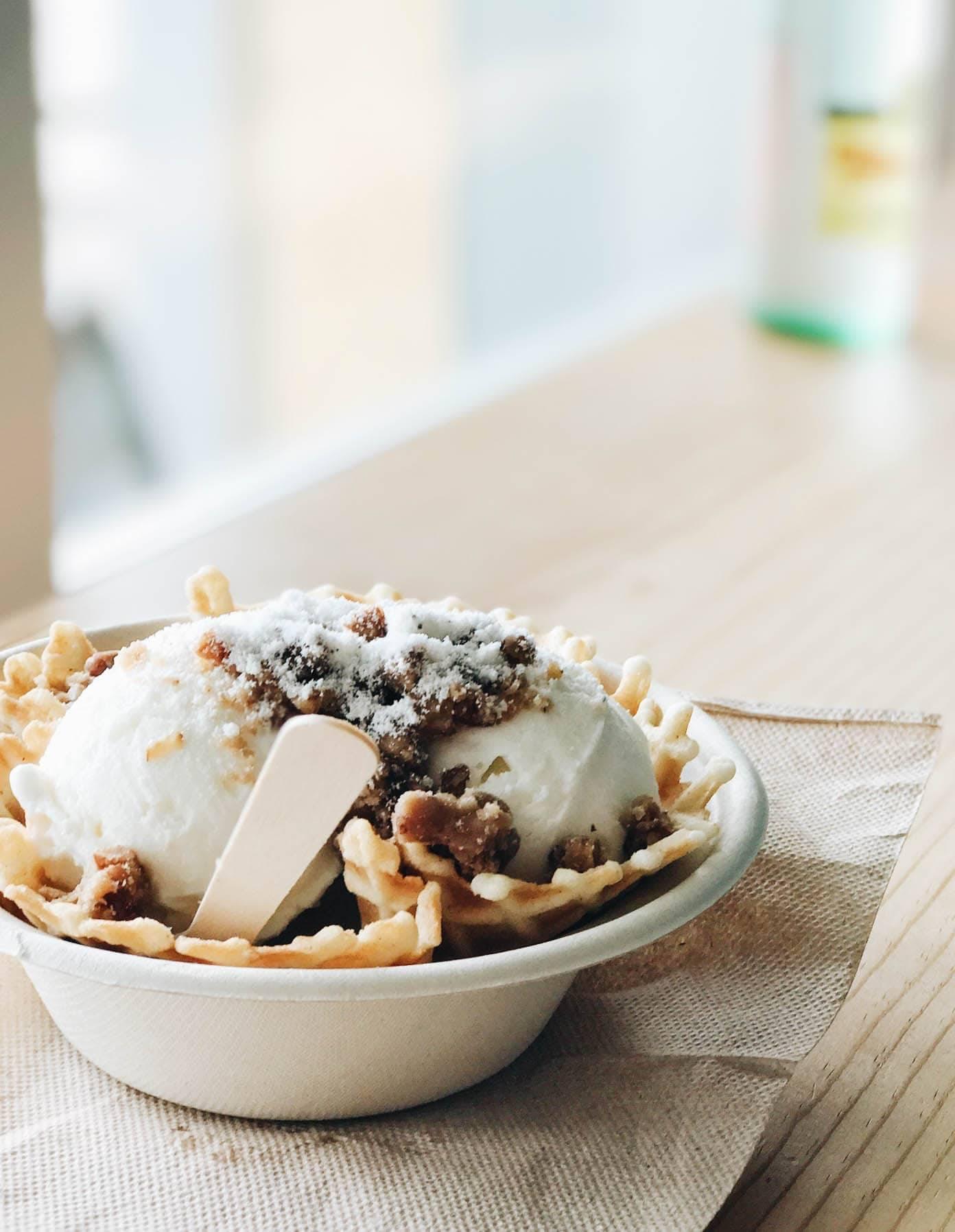 Ice cream in a bowl.