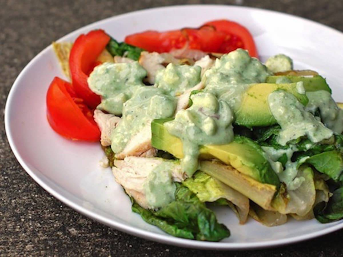 This avocado blue cheese dressing is simple and perfect on grilled veggies or salads. The creamy avocado is the perfect match for the tangy blue cheese. | pinchofyum.com