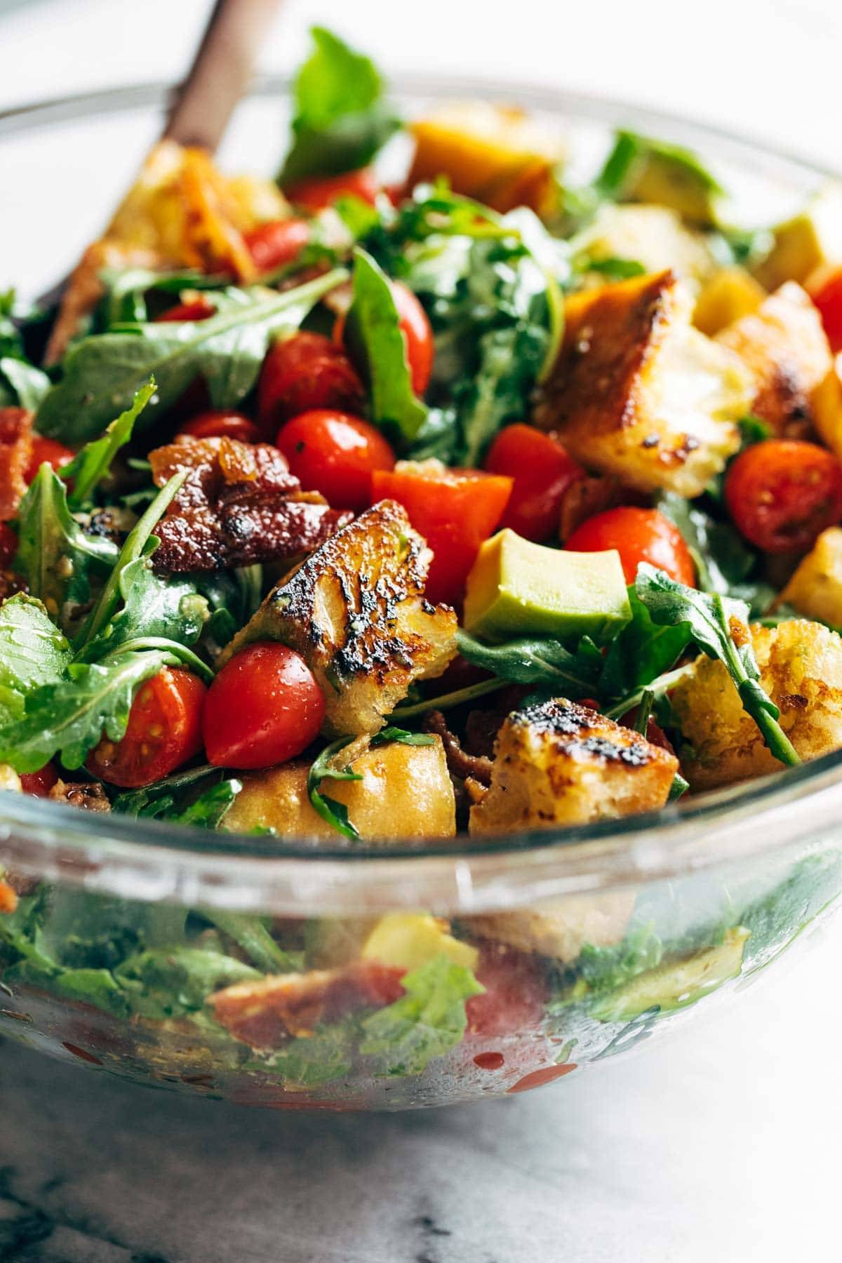 Closeup of BLT Panzanella in a bowl.