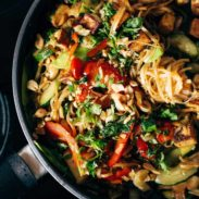 Stir Fry with Noodles in a pan.