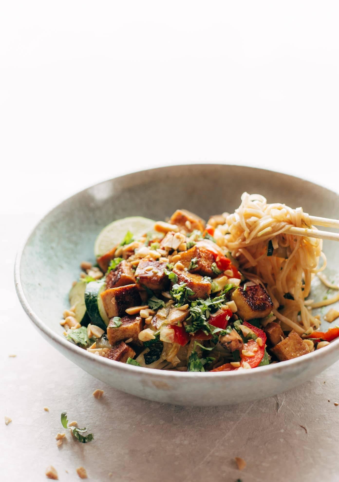 Back Pocket Stir Fry with Noodles in a bowl with chopsticks.