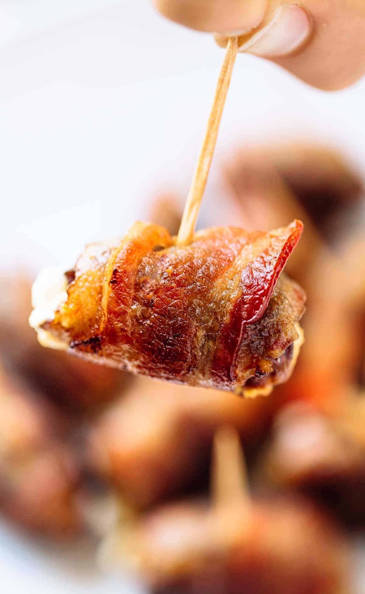 Bacon Wrapped Dates with Goat Cheese - an easy 3-ingredient appetizer recipe that will blow you away!   pinchofyum.com