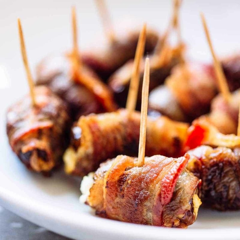A picture of Bacon-Wrapped Dates with Goat Cheese