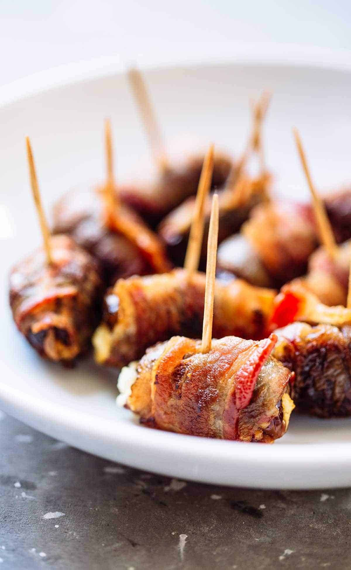 Bacon wrapped dates with goat cheese recipe pinch of yum bacon wrapped dates with goat cheese forumfinder Images