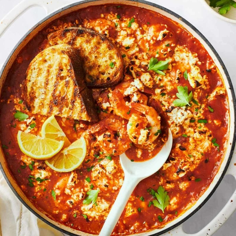 A picture of Baked Shrimp with Feta and Grilled Sourdough