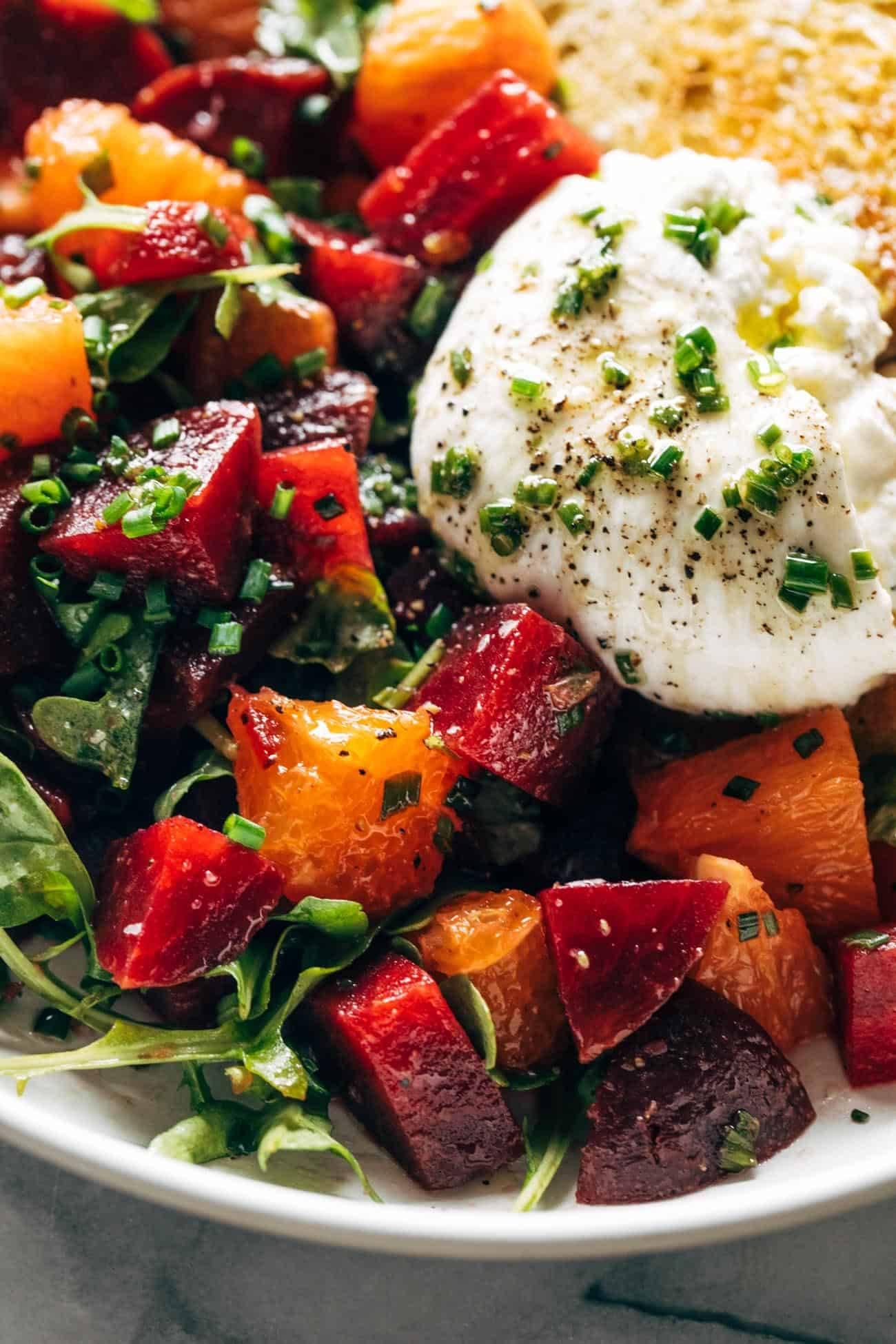 Close-up of beet and burrata salad