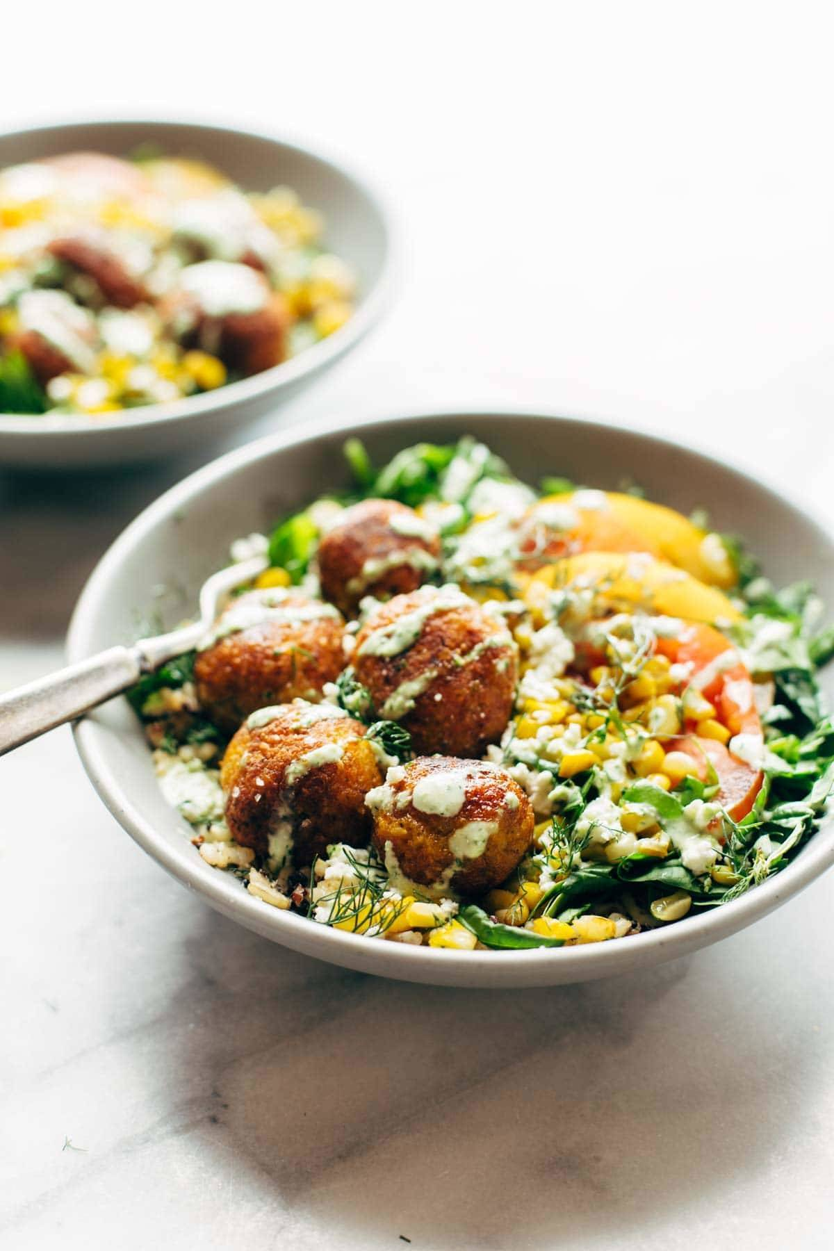 Summer Bliss Bowls with Sweet Potato Falafel and Jalapeño Ranch.