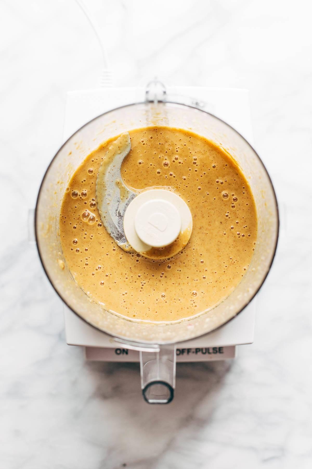Sauce in a food processor.