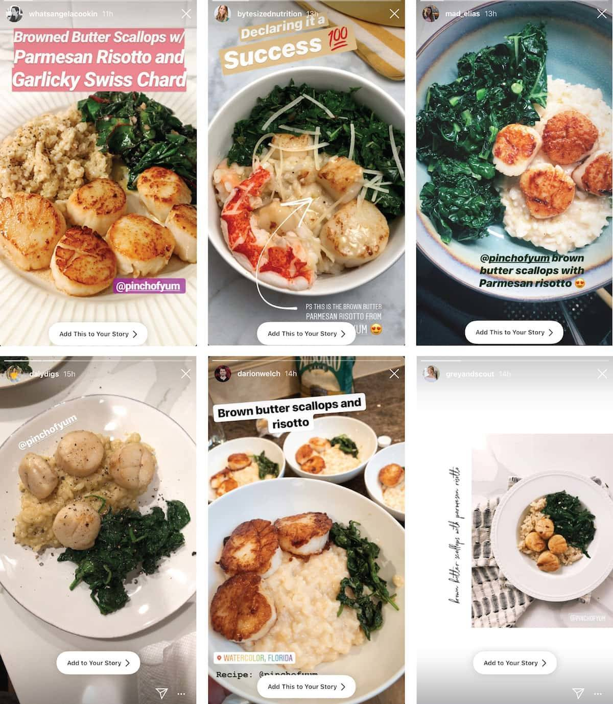 Instagram images of Brown Butter Scallops.