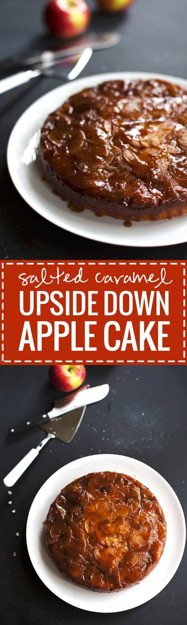 Salted Caramel Upside Down Apple Cake | pinchofyum.com