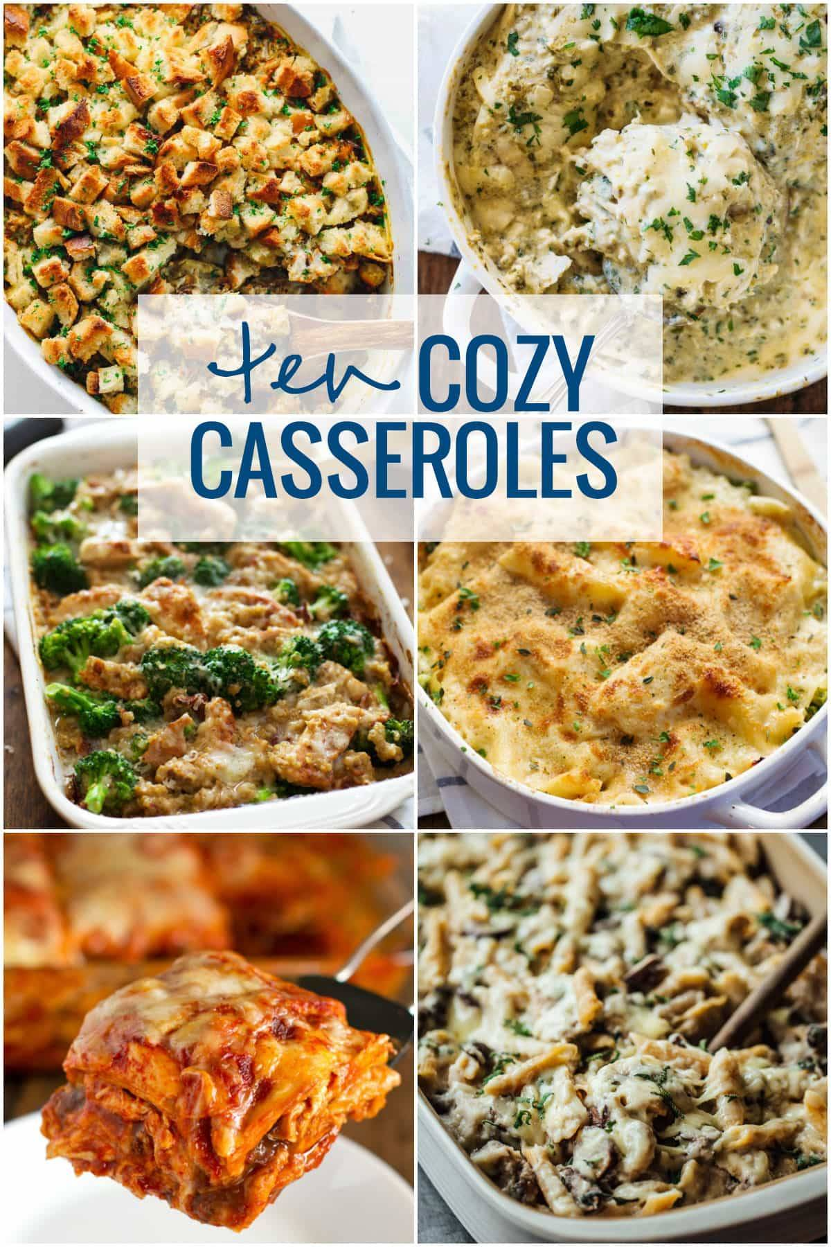 Top 10 casseroles with a collage of images.