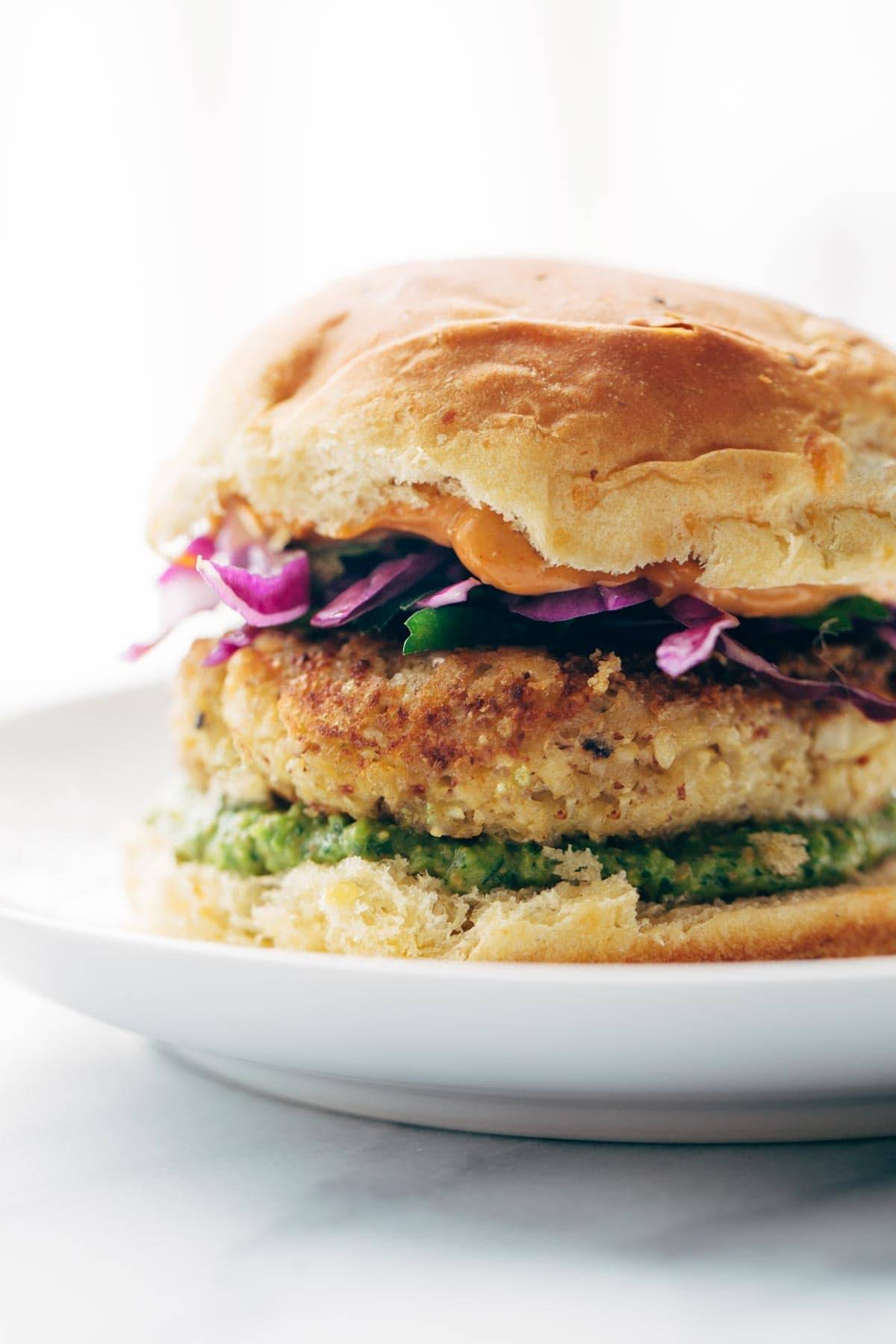 spicy cauliflower burgers recipe pinch of yum