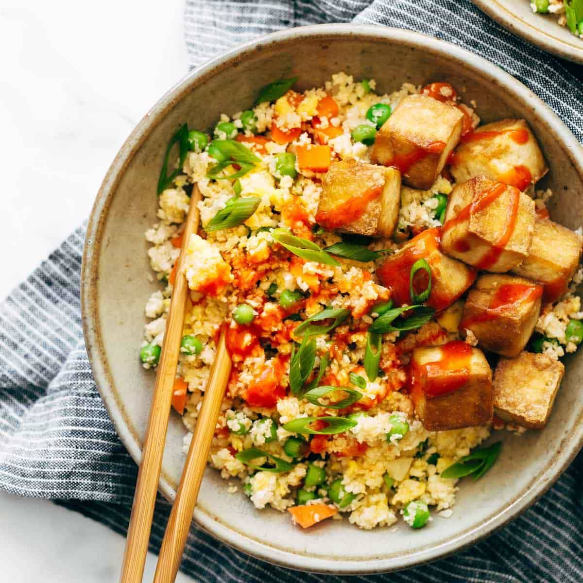Cauliflower Fried Rice With Crispy Tofu Recipe