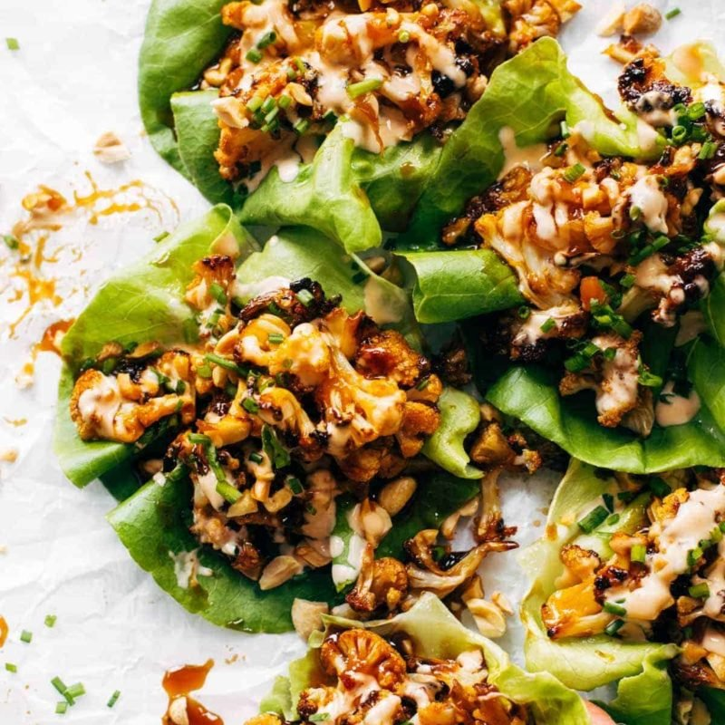 A picture of Roasted Cauliflower Lettuce Wraps with Korean BBQ-Inspired Sauce