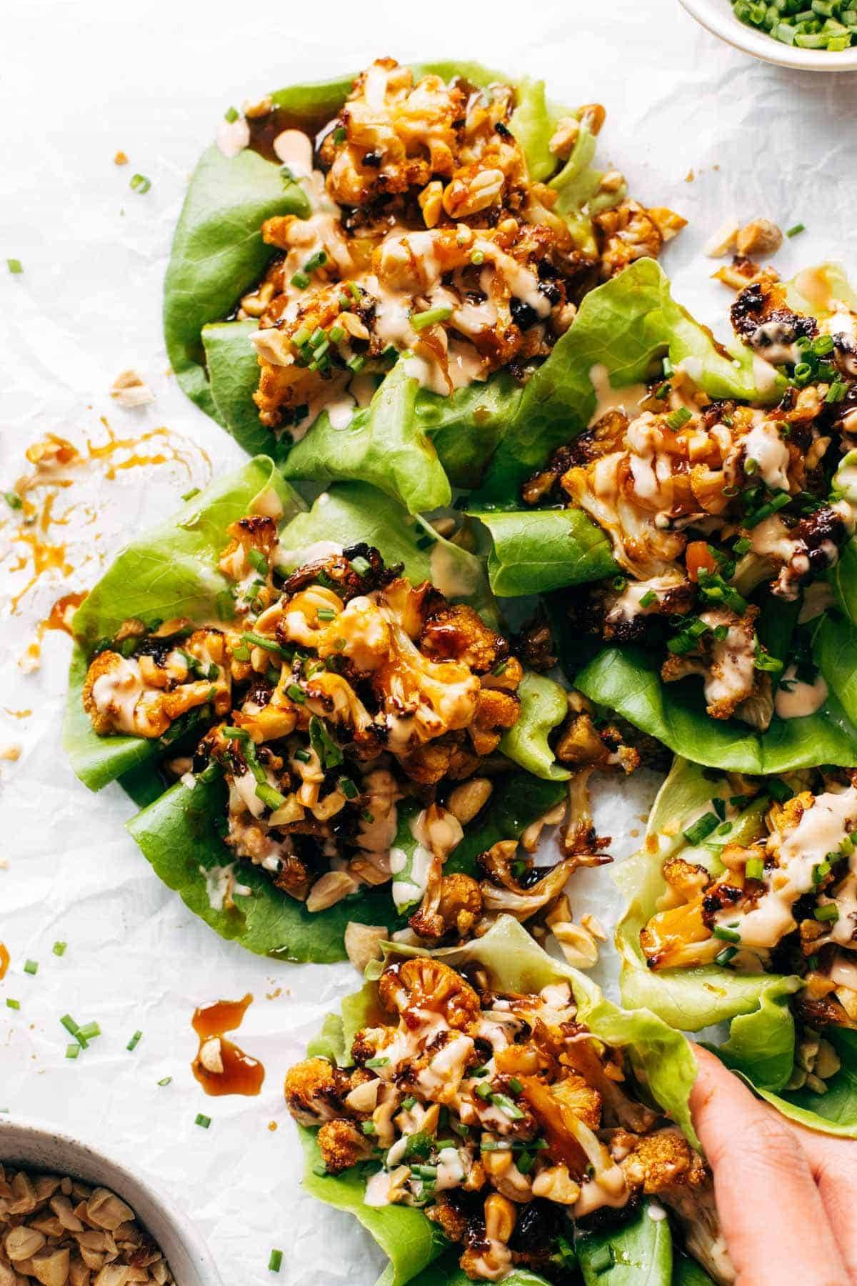 Cauliflower lettuce wraps with spicy mayo.