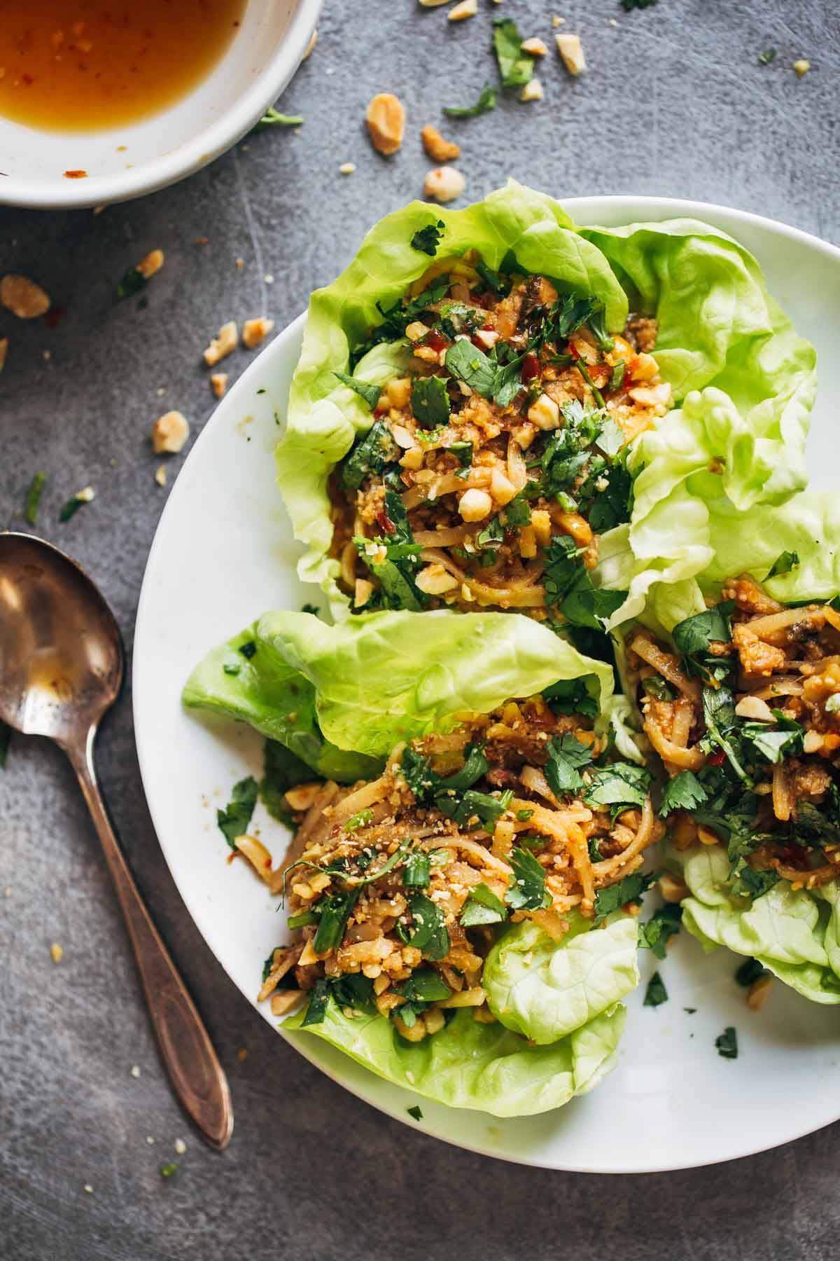 Peanut Chicken Lettuce Wraps With Ginger Garlic Sauce Recipe Pinch Of Yum