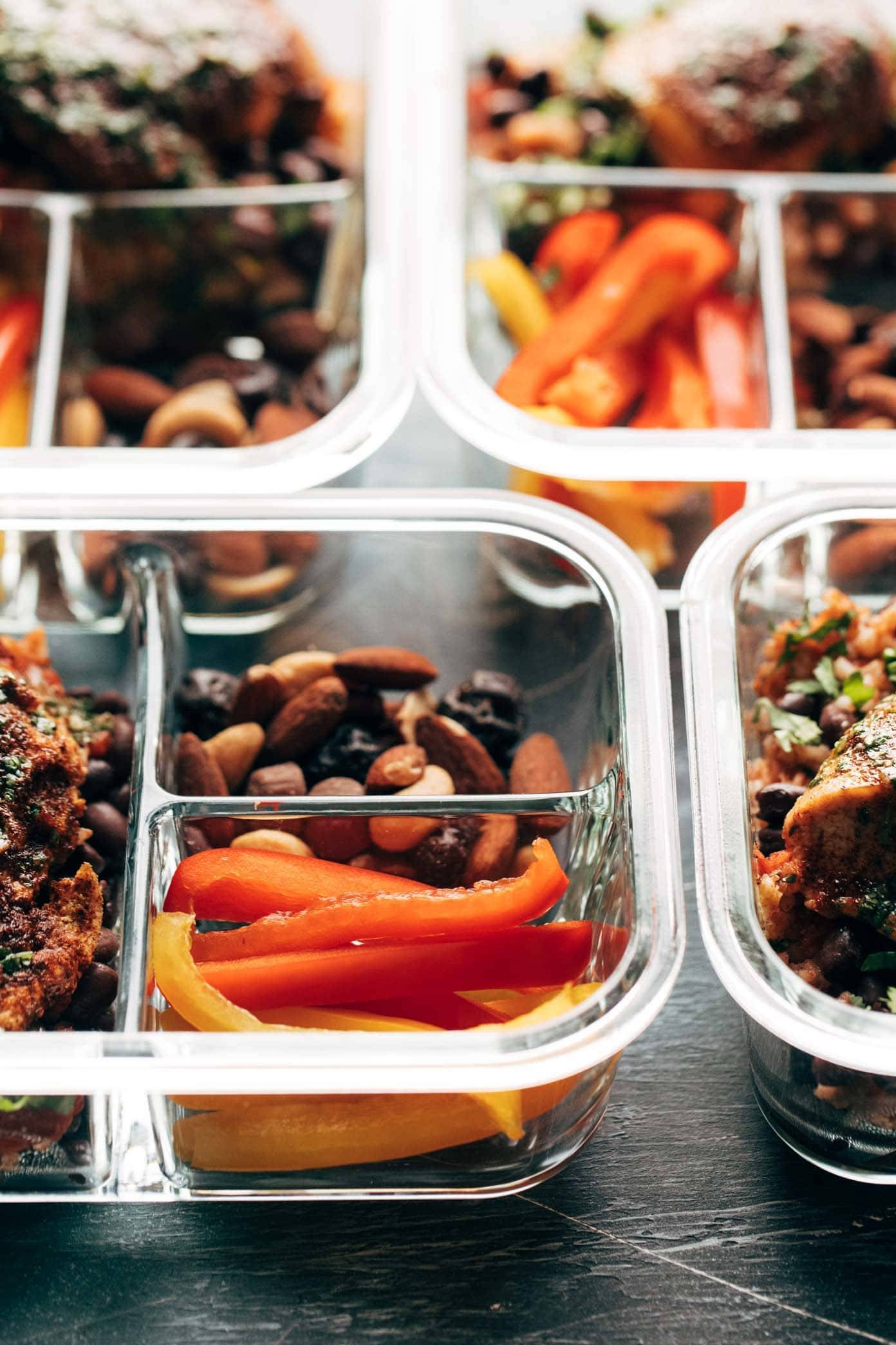 Chicken Meal Prep in Containers with Peppers