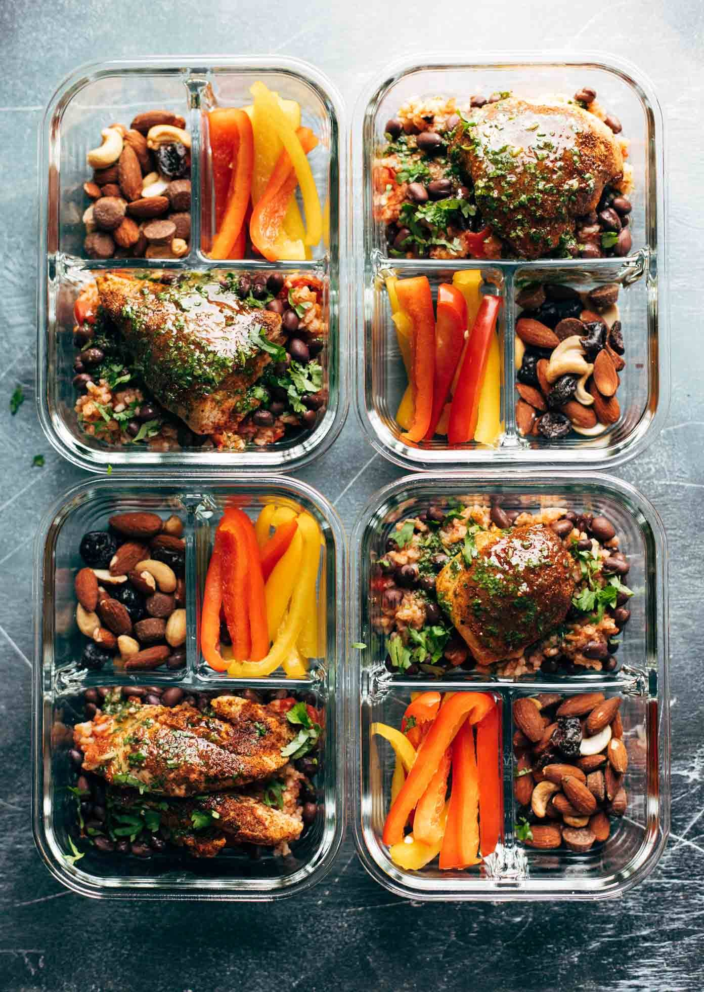 Spicy chicken meal prep with rice and beans recipe pinch of yum chicken and rice in meal prep containers forumfinder Image collections
