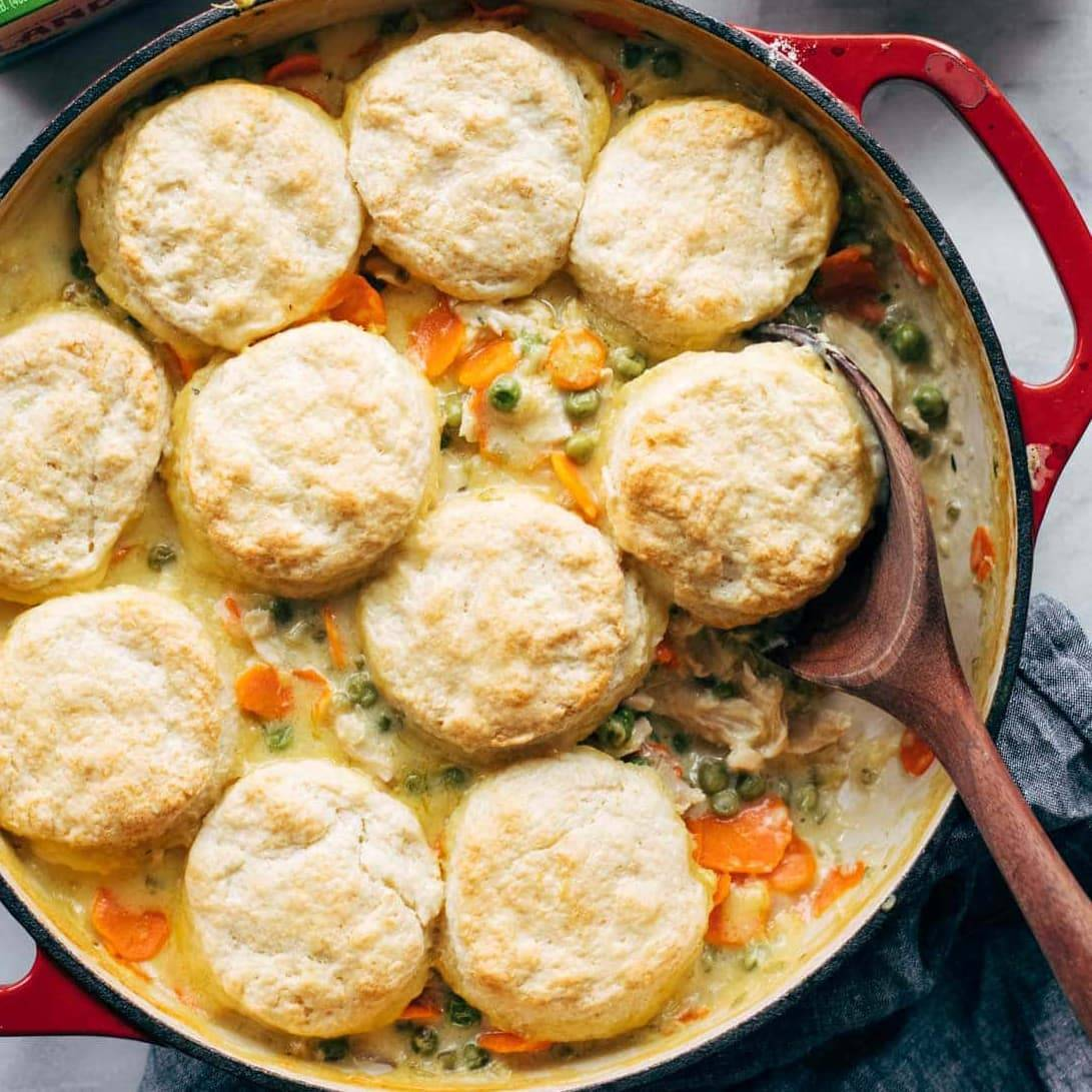 Chicken Pot Pie With Biscuits Recipe Pinch Of Yum