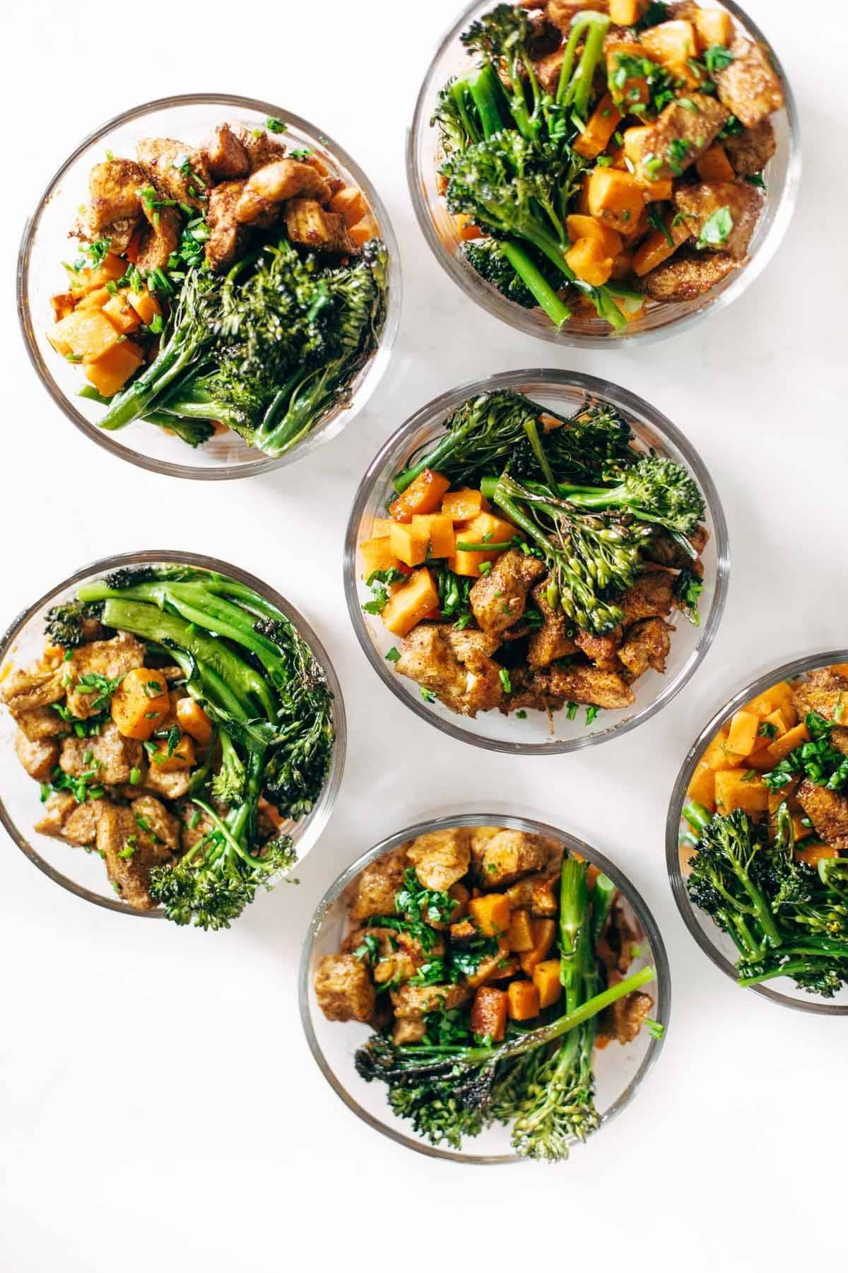 Bowls Of Chicken And Sweet Potatoes