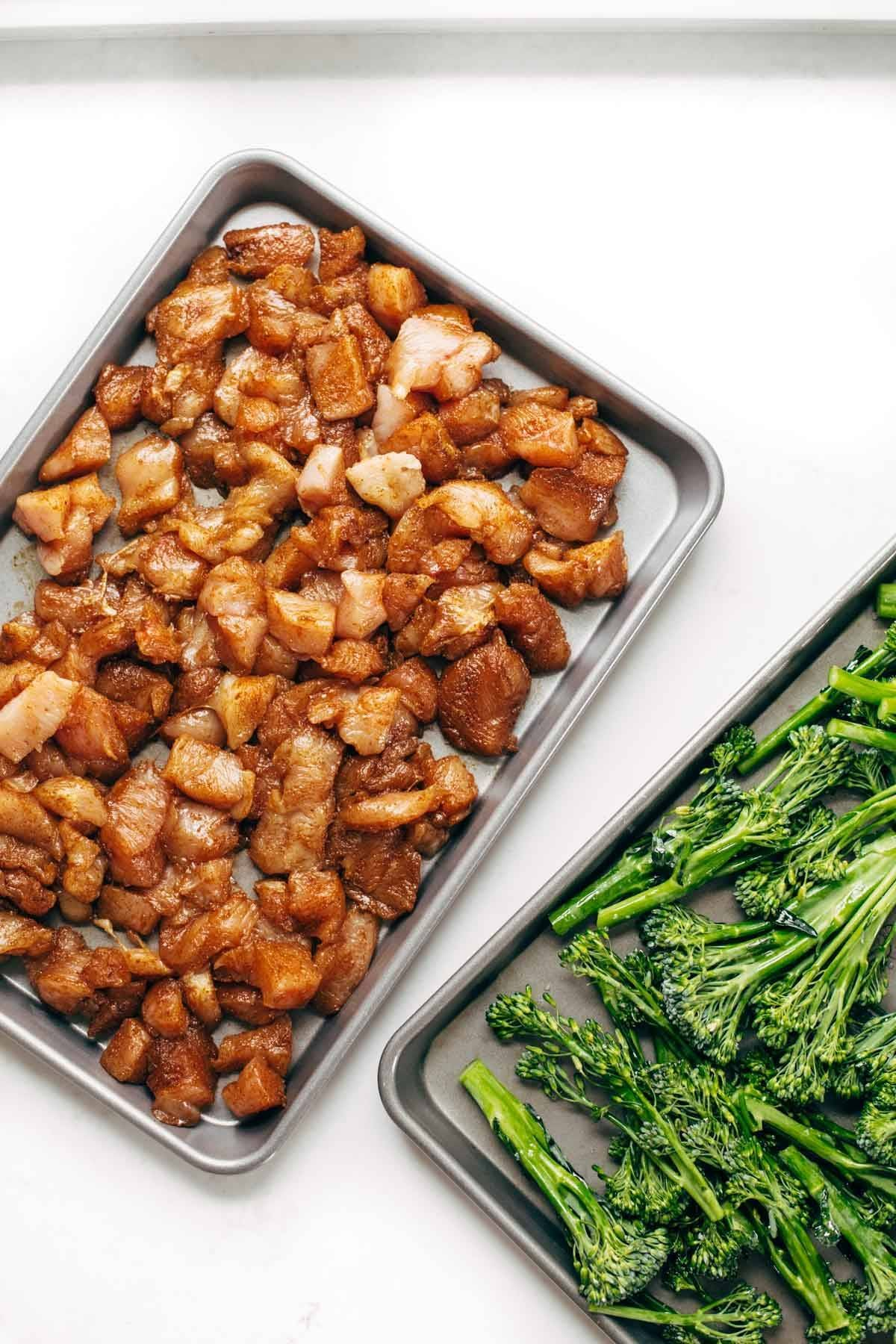 chicken and broccoli on pans