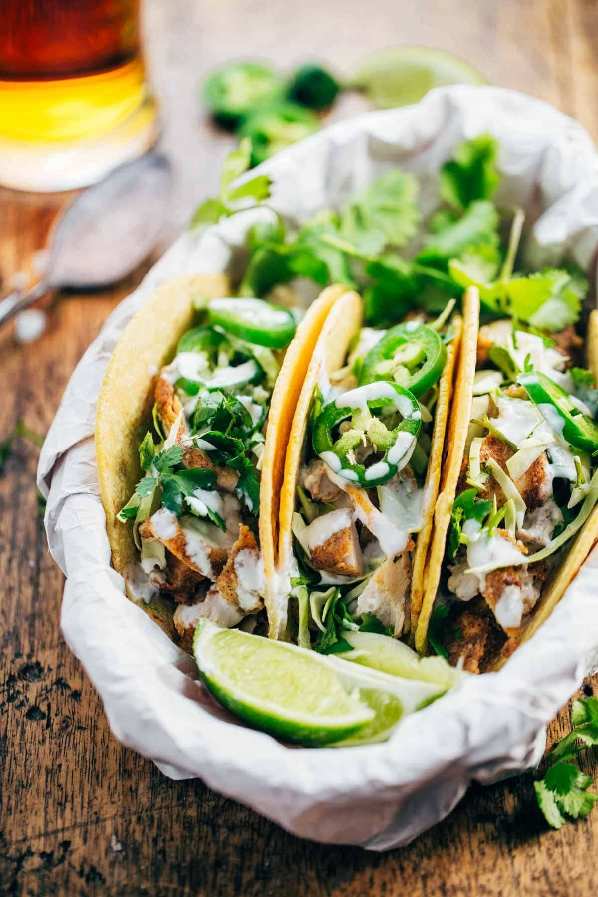 Chicken Tacos with limes and herbs.