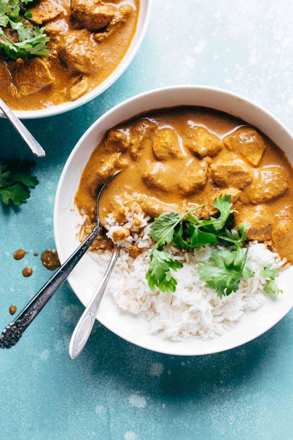 Chicken Tikka Masala in a bowl with rice
