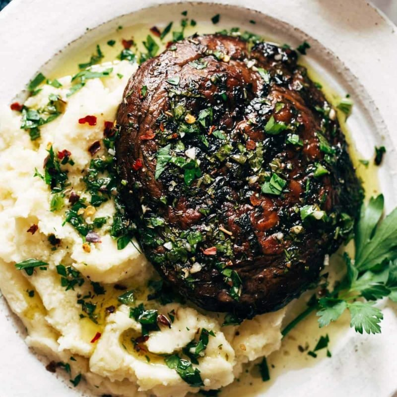 A picture of Grilled Chimichurri Portobellos with Goat Cheese Mashed Potatoes
