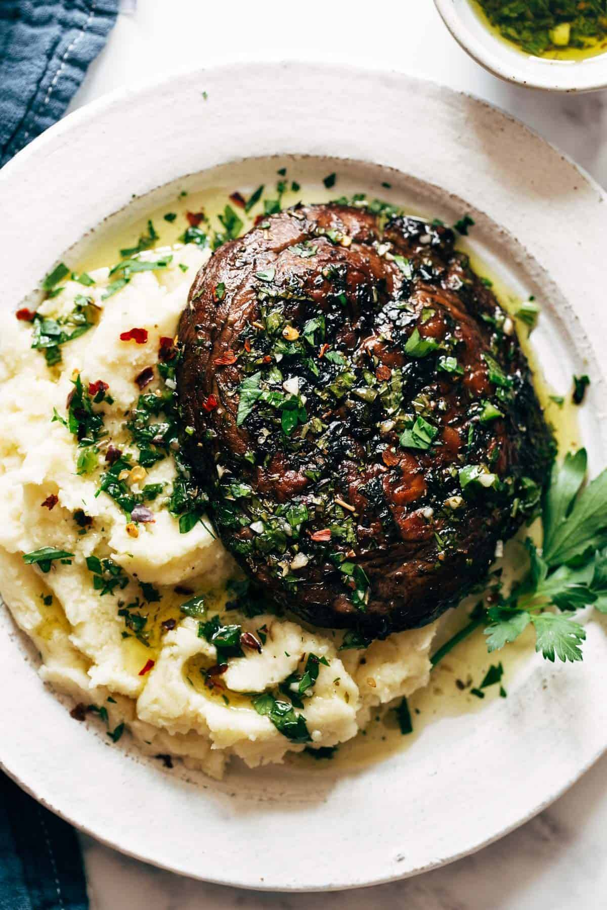 Grilled portobello mushroom on goat cheese mashed potatoes.