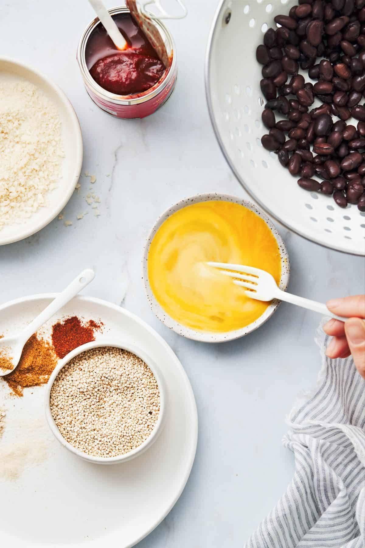 Ingredients for quinoa burgers.